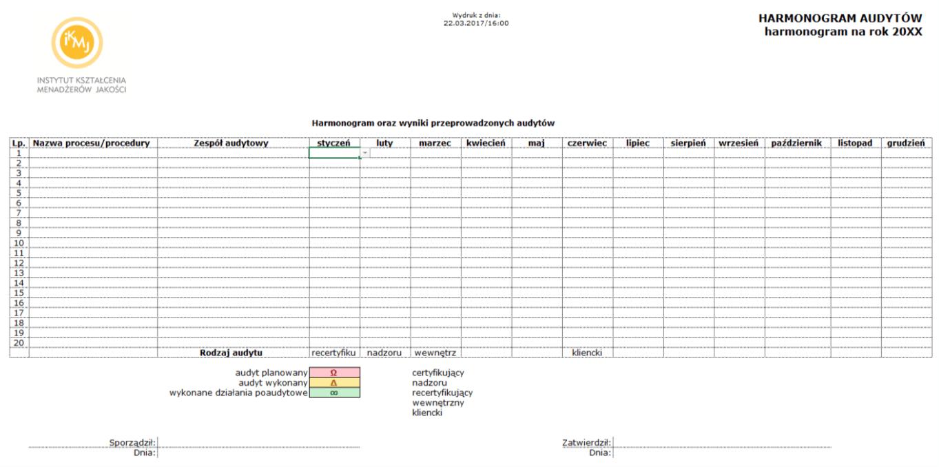 harmonogram audytów - przewodnik ISO 9001:2015